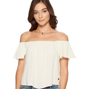 Roxy Off the Shoulder Cream Ivory White Top - L